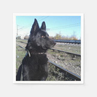 Black GSD with Train Tracks Disposable Napkins