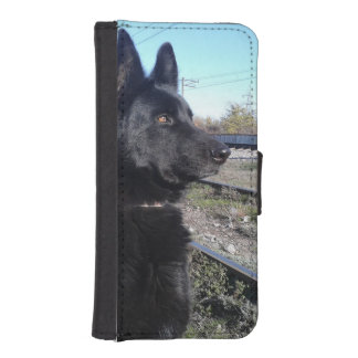 Black GSD with Train Tracks iPhone SE/5/5s Wallet Case