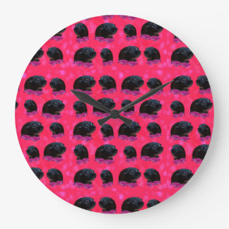 Black Guinea Pigs On Pink Roses Large Wall Clock. Large Clock