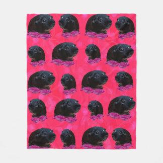 Black Guinea Pigs On Pretty Pink Roses Fleece Blanket