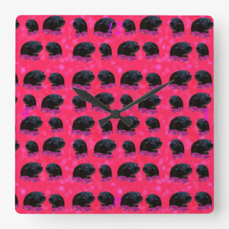 Black Guinea Pigs On Pretty Pink Roses Square Wall Clock