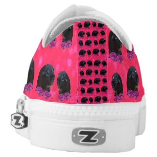 Black Guinea Pigs On Roses, Lowtops Zipz Sneakers. Low-Top Sneakers