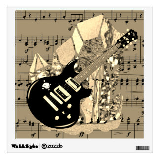 Black Guitar Golden Sheet Music Crystal Wall Sticker