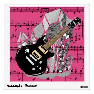 Black Guitar Pink Sheet Music Silver Crystal Wall Sticker