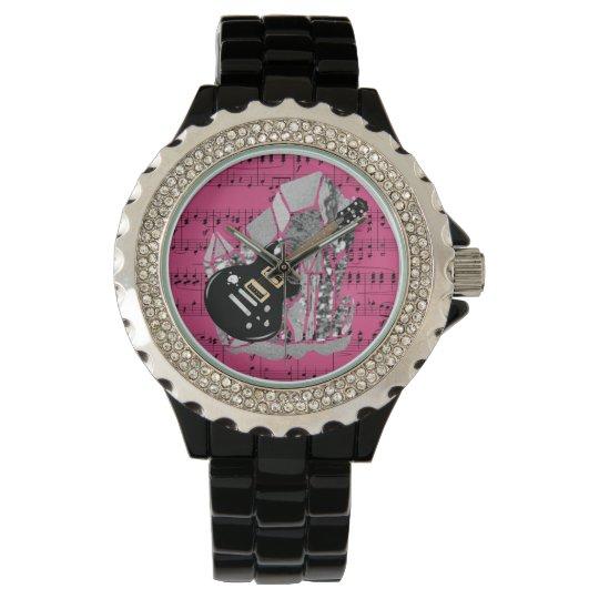 Black Guitar Pink Sheet Music Silver Crystal Wrist Watches