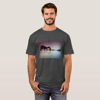 Black Guitar Sunset Water Reflection Gray T Shirt