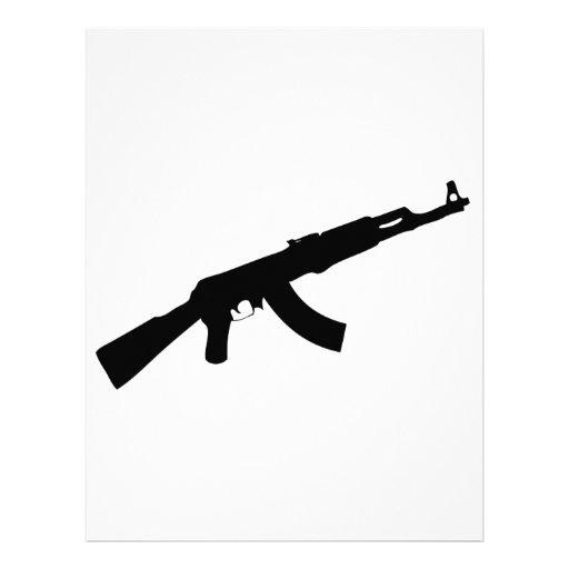 black gun ak 47 icon custom letterhead