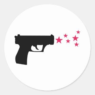 black gun star pistol stars round sticker