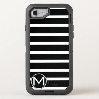 Black H Stripe Monogram OtterBox Defender iPhone 8/7 Case