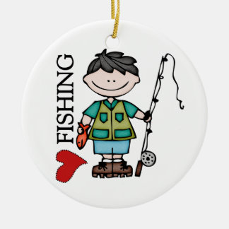 Black Hair Boy I Love Fishing Round Ceramic Ornament