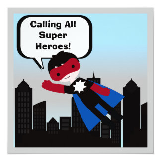 Black Hair Boy Super Hero Birthday Invitation