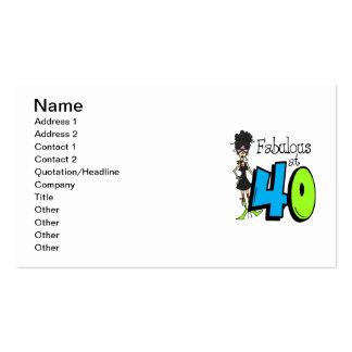 Black Hair Fabulous at 40 Birthday Business Card