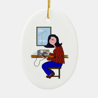 Black Hair Female Ham Christmas Ornament
