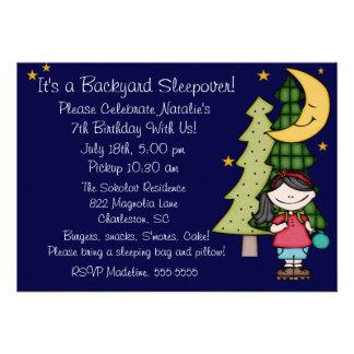 Black Hair Girl Backyard Sleepover 5x7 Invitation