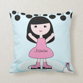 Black Hair Girl Figure Skater Pillow