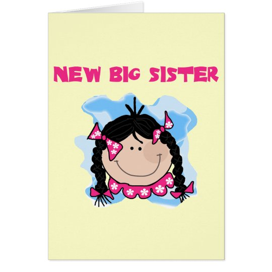 Black Hair New Big Sister  Tshirts and Gifts Card