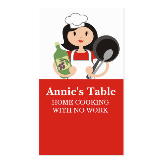 Black hair woman chef olive oil cooking biz cards business card