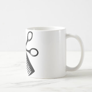 black hairdresser comb scissors coffee mug