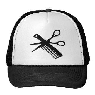 black hairdresser comb scissors trucker hat
