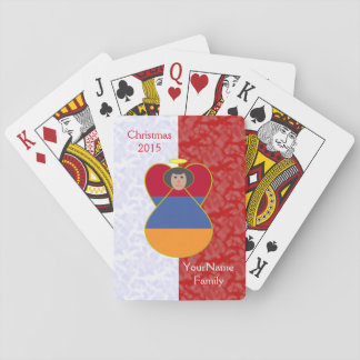 Black Haired Armenian Angel Flag Red White Playing Cards