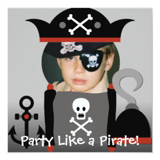 Black Haired  Boy Party Like a Pirate Invites