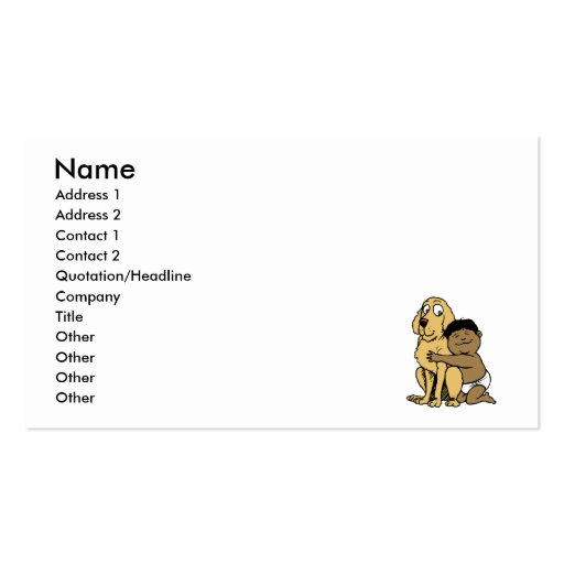 black haired boy with big dog business card template