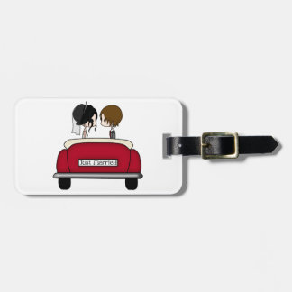 Black Haired Bride and Brunette Groom Luggage Tag
