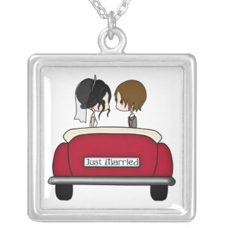 Black Haired Bride and Brunette Groom Square Pendant Necklace