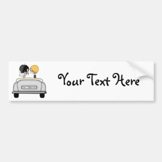 Black Haired Bride & Blonde Groom in Grey Car Bumper Stickers