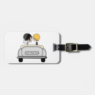 Black Haired Bride & Blonde Groom in Grey Car Luggage Tag