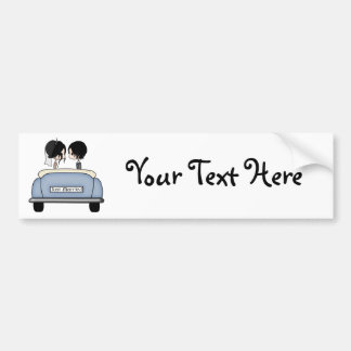Black Haired Bride & Groom in Blue Wedding Car Bumper Stickers