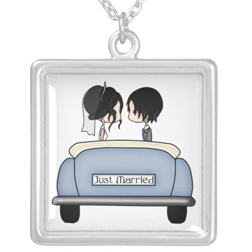 Black Haired Bride & Groom in Blue Wedding Car Necklaces