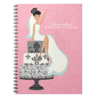 Black Haired Bride on Wedding Cake pink Spiral Notebook