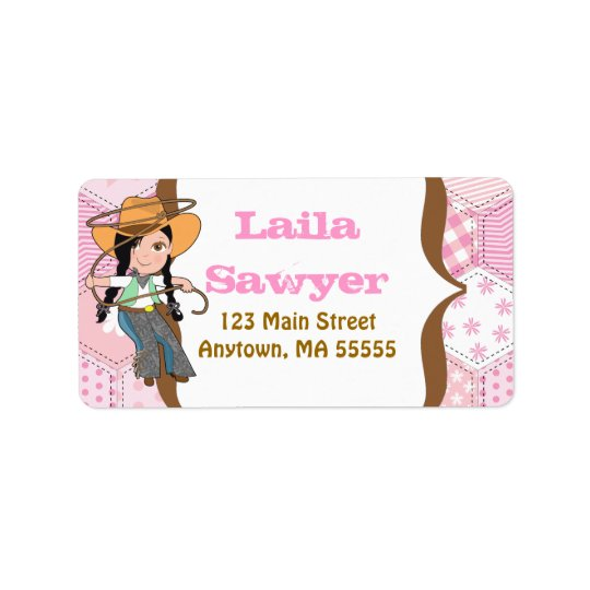 Black Haired Cowgirl Address Labels