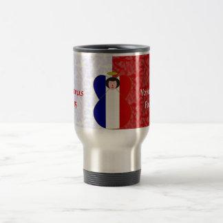 Black-haired French Angel Flag Red White Travel Mug