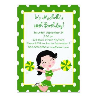 Black haired Green Yellow Cheerleader Invitations