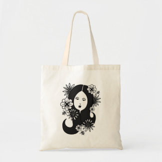black haired lady with flowers & bees budget tote bag
