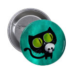 Black Halloween Cat with Skull 2 Inch Round Button
