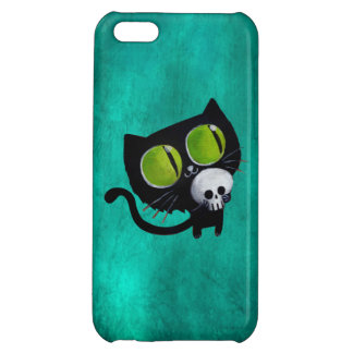 Black Halloween Cat with Skull iPhone 5C Covers