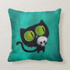 Black Halloween Cat with Skull Throw Pillow