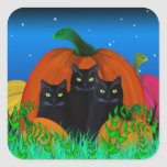 Black Halloween Cats with Pumpkins Stickers
