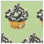 Black Halloween Cupcake with tiny skulls Fabric