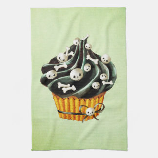 Black Halloween Cupcake with tiny skulls Towel