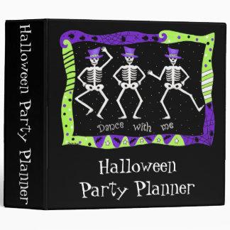 Black Halloween Dancing Skeletons Party Planner 3 Ring Binder