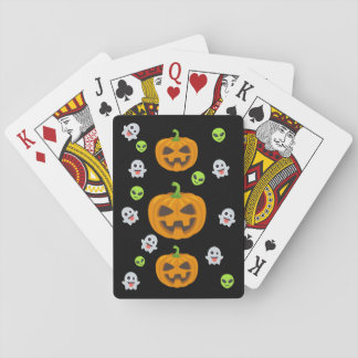 Black Halloween Emoji Playing Cards