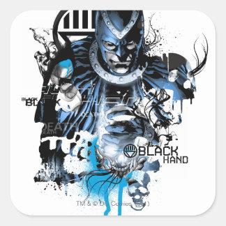 Black Hand - Blue Collage Square Sticker