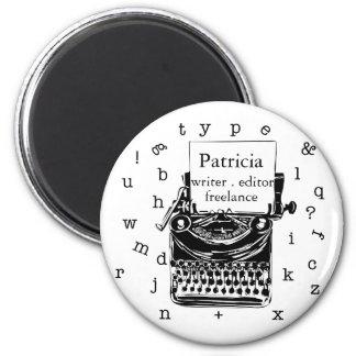 Black Hand Drawn Retro Typewriter | Editable  TEXT 2 Inch Round Magnet
