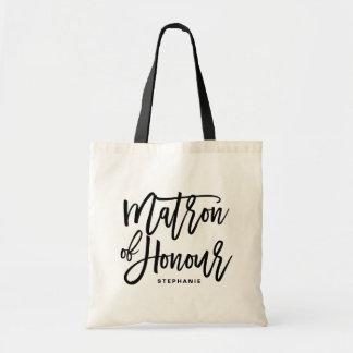 Black Hand Lettering Matron of Honour Tote Bag