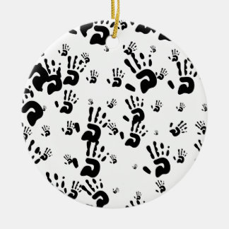 Black Hand Prints Ceramic Ornament