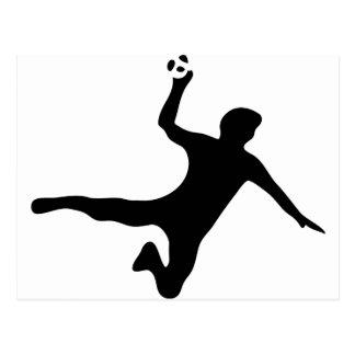 black handball player logo postcard